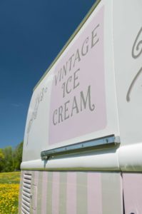 Polly's Parlour Vintage Ice Cream Van Hire sign writing